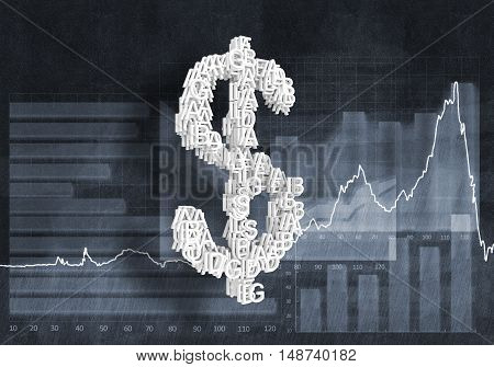 Big dollar currency symbol on graphs and diagrams background, 3D rendering