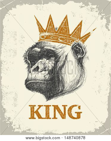 Monkey Face With Like A Boss Inscription Hand drawn Vector illustration.