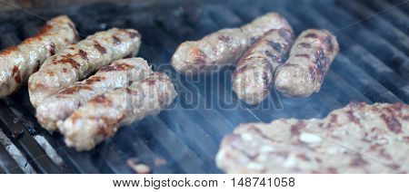 picture of a Barbecue Beef Kebabs On The Hot Grill Close-up.