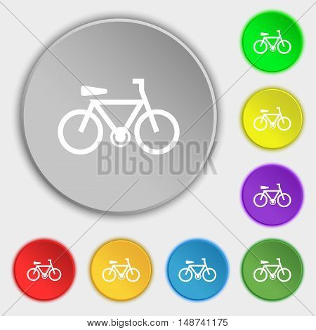Bicycle Icon Sign. Symbol On Eight Flat Buttons. Vector