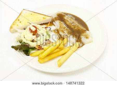 Pangasius Fish Steak Vegetables Salad Toast Bread With French Fried Plate Isolated