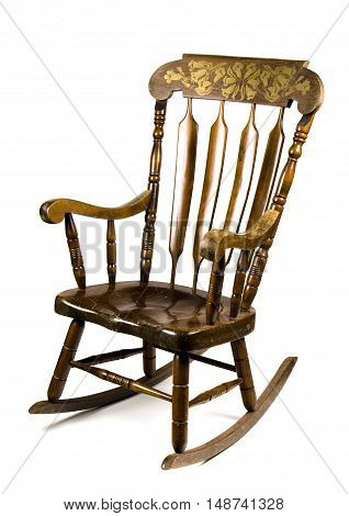 Antique Rocking Chair on a white background