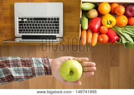Farmer Showing Freshly Apple