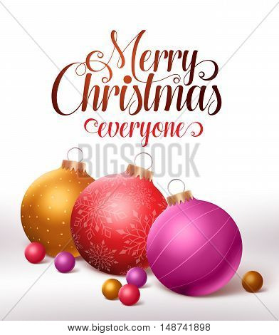 Merry christmas greetings card design with colorful christmas balls and marbles in white background. Vector illustration
