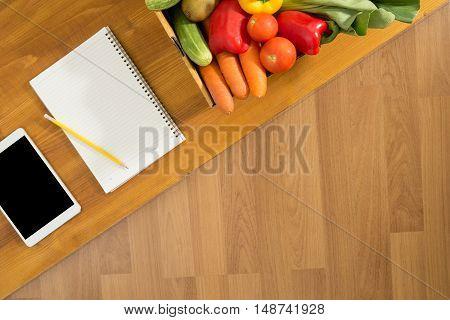 Touch Screen Digital Tablet, Fresh Vegetables