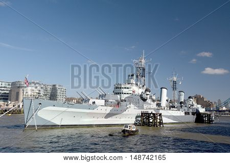 HMS Belfast moored on River Thames, London