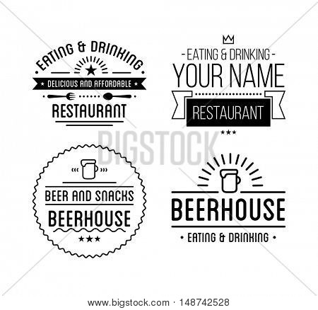 Vintage logo. Coffee shop template. Restaurant label. Beer house label. Graphic design element for business cafe, bar, pub. Vector Illustration isolated on background.