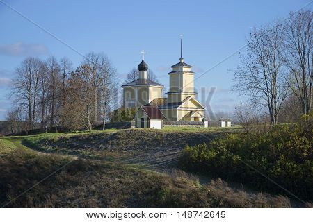 PSKOV REGION, RUSSIA - OCTOBER 18, 2014: View of the Church of St. George, sunny october day. Religious landmark  of the Trigorskoe, Pskov region
