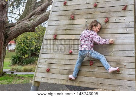 young happy girl climbing at outdoor playground