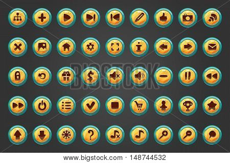 Big set of fifty vector button for game design. Mobile elements for ui game.
