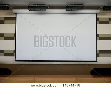 Blank Projection Screen on Stage for presentation background