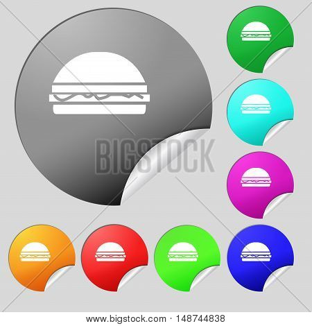 Hamburger Icon Sign. Set Of Eight Multi Colored Round Buttons, Stickers. Vector