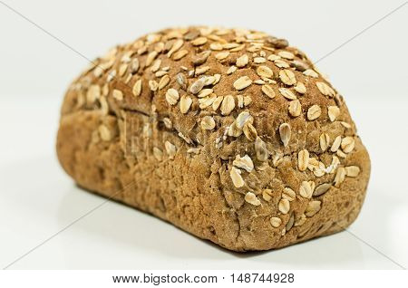 Bread Cereal whole grain homemade on white background
