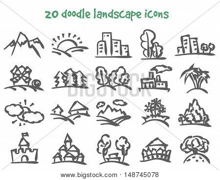 Vector doodle landscape icons set. Stock cartoon signs for design.