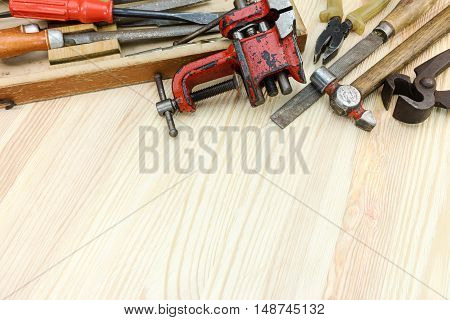 Set Of Old Tools For House Renovation And Construction On Wooden Background