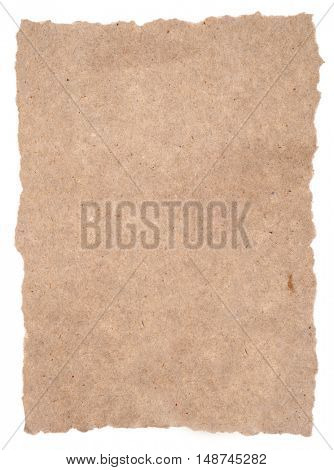 Torn piece of old rough paper isolated on white