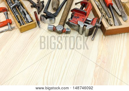 Old Grungy Instruments And Tools For House Construction And Hand Work On Wooden Surface