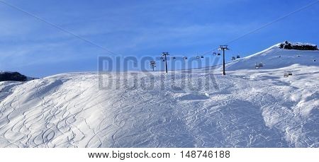 Panoramic View On Sunlight Off-piste Slope At Morning