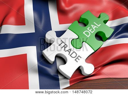 Norway trade deals and international commerce concept, 3D rendering