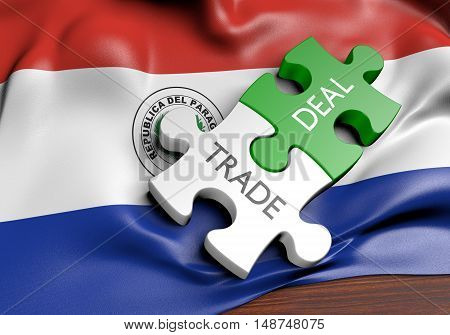 Paraguay trade deals and international commerce concept, 3D rendering