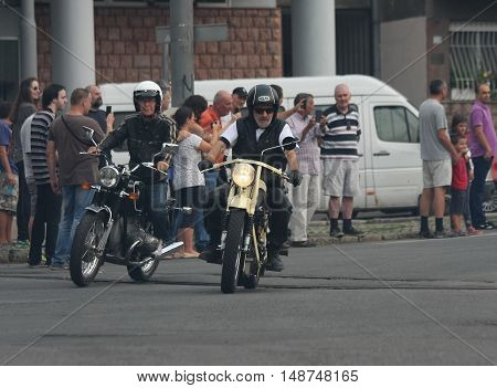 BELGRADE,SERBIA - SEPTEMBER 10, 2016: Oldtimer motorcycles at the commercial race of old cars in memory of formula 1 race held on the same place in 1939 two days after the beginning of Second World War when the famous Italian driver Tazio Nuvolari won