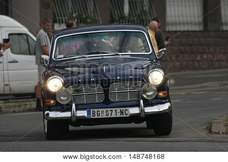 BELGRADE,SERBIA - SEPTEMBER 10, 2016: Old Volvo at the commercial race of old cars in memory of formula 1 race held on the same place in 1939 two days after the beginning of Second World War when the famous Italian driver Tazio Nuvolari won