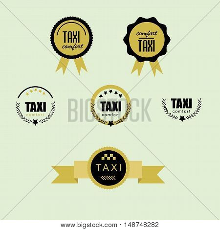 Taxi set badges and labels .  retro style