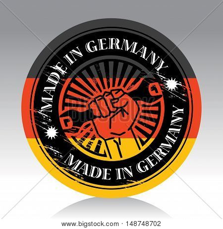 Abstract label with hand holding wrench and words made in germany, vector illustration
