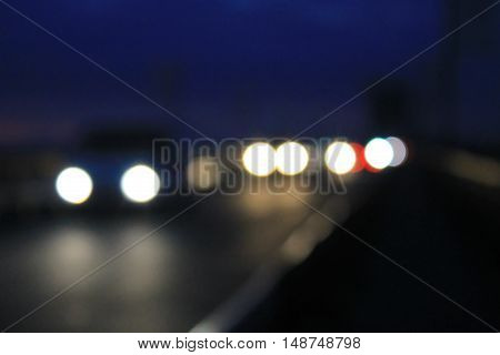 Bokeh blurred car lights in the night
