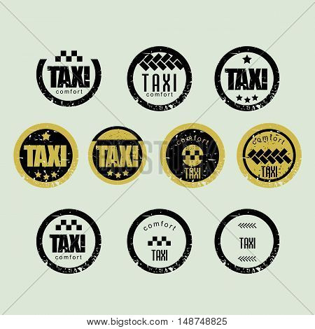 Taxi vintage labels and emblems template. vector badge.