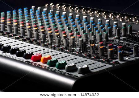 Closeup Of An Audio Sound Mixer