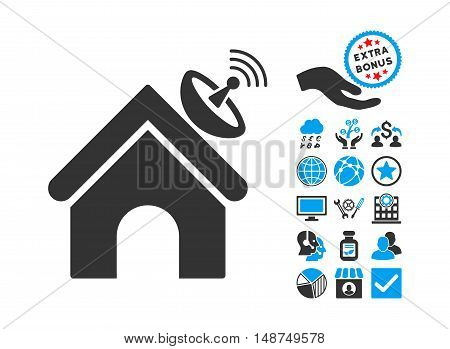 Space Antenna Building icon with bonus design elements. Vector illustration style is flat iconic bicolor symbols, blue and gray colors, white background.