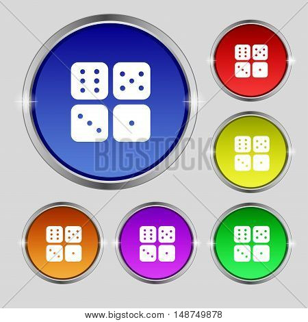 Dices Icon Sign. Round Symbol On Bright Colourful Buttons. Vector