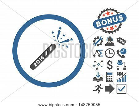2016 Firecracker pictograph with bonus symbols. Glyph illustration style is flat iconic bicolor symbols, cobalt and gray colors, white background.