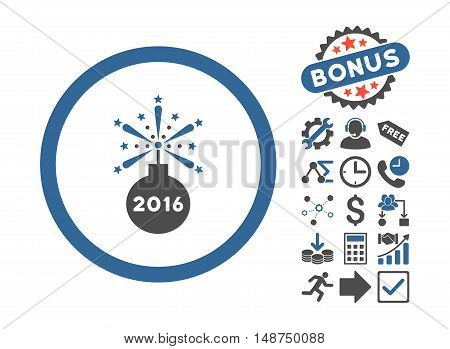 2016 Fireworks Detonator pictograph with bonus clip art. Glyph illustration style is flat iconic bicolor symbols, cobalt and gray colors, white background.