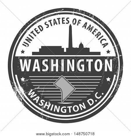 Grunge rubber stamp with name of Washington D.C., Washington, vector illustration