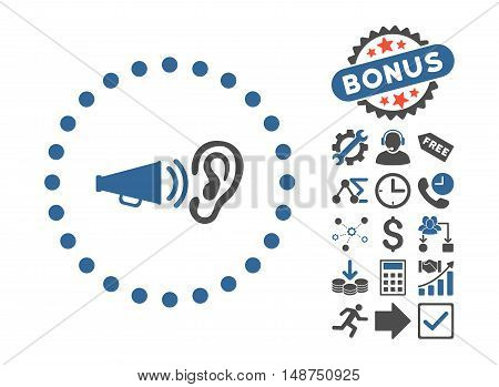 Advertisement pictograph with bonus images. Glyph illustration style is flat iconic bicolor symbols, cobalt and gray colors, white background.