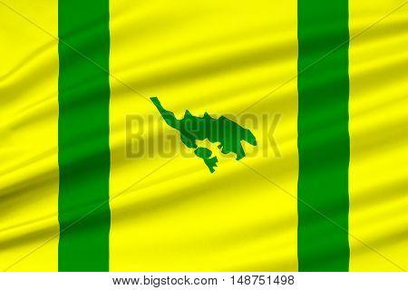 Flag of Isla Culebra (Snake Island) is an island-municipality of Puerto Rico United States. 3D illustration