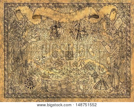 Ancient mayan or aztecs map with gods, old ships and temple on old paper textured background. Hand drawn illustration. Vintage adventures, treasures hunt and old transportation concept