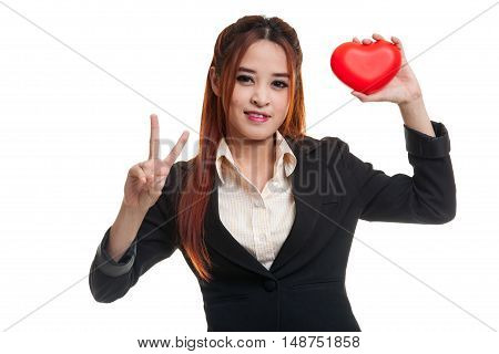 Asian Business Woman Show Victory Sign With Red Heart.