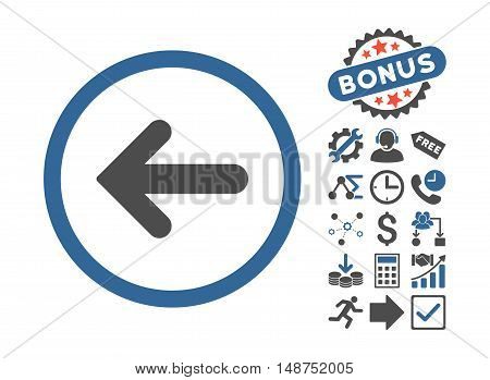 Arrow Left icon with bonus pictograph collection. Glyph illustration style is flat iconic bicolor symbols, cobalt and gray colors, white background.