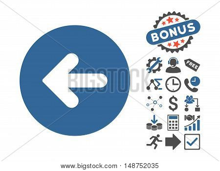 Arrow Left icon with bonus pictogram. Glyph illustration style is flat iconic bicolor symbols, cobalt and gray colors, white background.