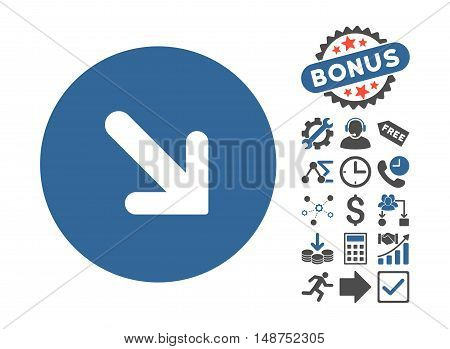 Arrow Right-Down icon with bonus clip art. Glyph illustration style is flat iconic bicolor symbols, cobalt and gray colors, white background.