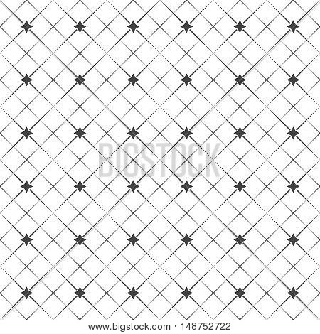 Vector seamless pattern. Abstract geometric background. Simple elegant texture with thin lines. Regularly repeating geometrical linear grid with rhombuses stars. Contemporary design