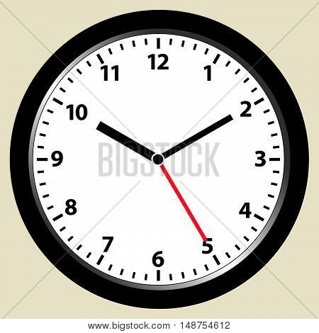 Face of an office clock pointing ten minutes past ten hours. Ten past ten. vector illustration