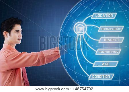 Concept of property value. Young Asian businessperson touching property value button and globe on the futuristic screen