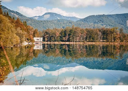 Panoramic View Of Lake Offensee In Austria