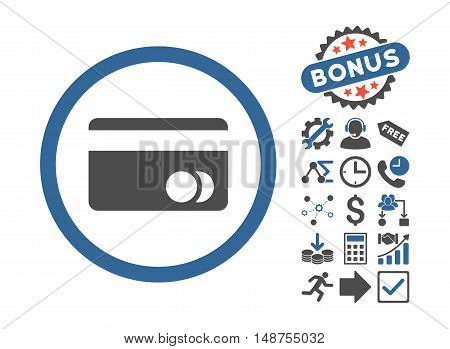 Banking Card icon with bonus icon set. Glyph illustration style is flat iconic bicolor symbols, cobalt and gray colors, white background.