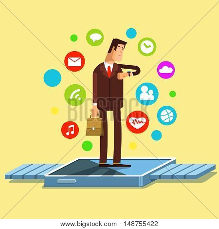 Vector illustration of smart watch fiat concept. Modern electronic device with apps icons. The use of modern electronic technology smart watch business people