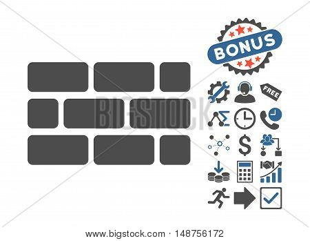 Brick Wall pictograph with bonus clip art. Glyph illustration style is flat iconic bicolor symbols, cobalt and gray colors, white background.